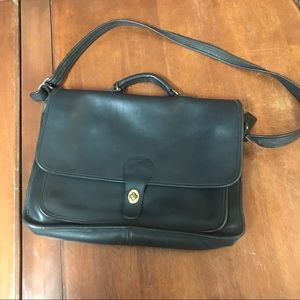 Coach Vintage Leather Laptop Briefcase in Black